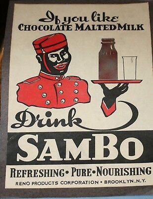 Sambo Chocolate Malted Milk Paper Poster or Ad Sign