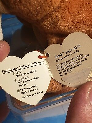 180e34b9a4e RARE Ty Beanie Baby Retired TUSK the Walrus PVC 1995 Tag Errors CORRECTION  STAMP