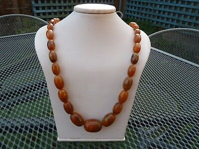 Vintage Art Deco Butterscotch Baltic Amber Graduated Oval Bead Necklace