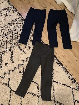 X 3 Pairs Of Boys Slim Skinny Fit School Trousers 7 - 8 M&S Marks Spencer