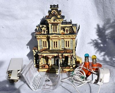 Department 56 GRIMSLY MANOR Halloween Snow Village Lights Sound Working Dept