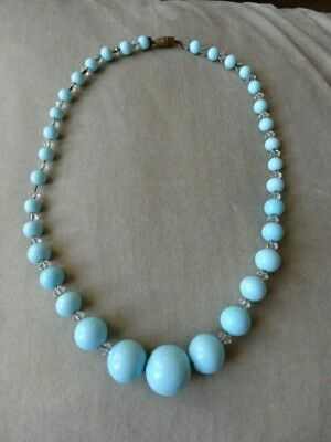 Vintage jewellery Art Deco Blue Glass Crystal Bead Necklace