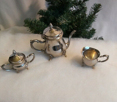 4 Pc Child's Tea Party Set Tea Pot Sugar with Lid Creamer Silver Plated