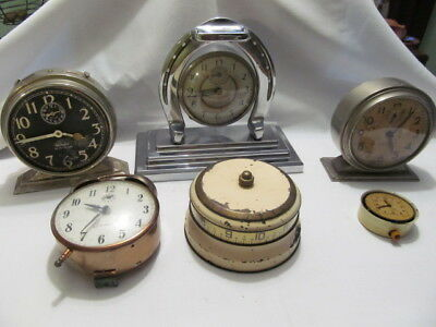 Vintage Lot of 6 Wind Up Shelf/Tabletop Clocks For Parts Repair Westclox,Eclipse