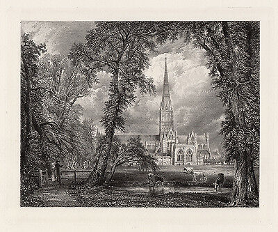 "1800s John CONSTABLE Engraving ""Salisbury Cathedral from Bishop's Grounds"" COA"