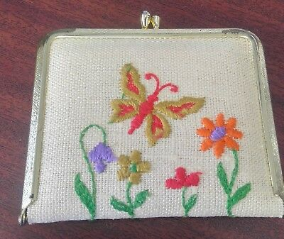 Vintage Embroidered Butterflies/Flowers Compact Mirror (10oz)