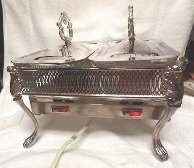 Vintage Eton Silver Plate Rectangular Chafing Dish Stand Serving 2 Tray Electric