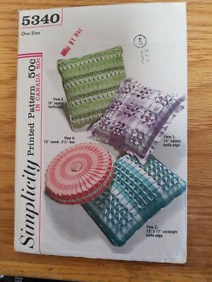 Vintage Simplicity 5340 Retro Pillow Covers Smocked -- Four Styles NOS UNCUT