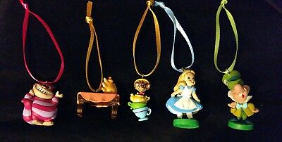 New Disney Alice In Wonderland Christmas Ornament Set Mad Hatter Cheshire Cat...