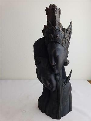 """= Black Wood Resin Collectible Statue King and Queen 14 1/2"""" Tall Unmarked"""