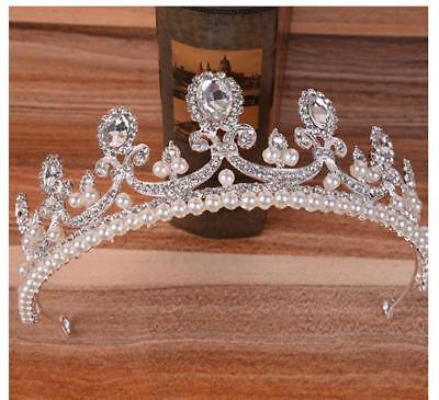 5.5cm High Large Tiara Crown Clear Crystal Wedding Bridal Party Pageant Prom NEW