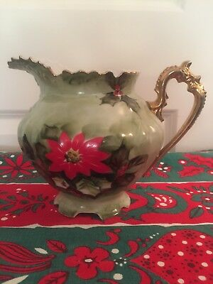 LEFTON-LIMITED-EDITION-CHRISTMAS POINSETTIA Pitcher  Set 60 YRS.OLD Mint