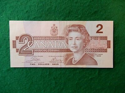 * Canadian 1986 series two dollar bill hard to find clean decent shape # 33