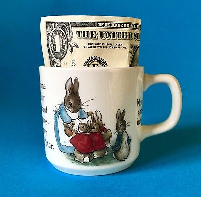 BEATRIX POTTER~Vintage Wedgwood Peter Rabbit Cup Mug - Once Upon Time 4 Rabbits