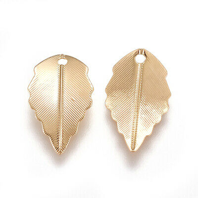 20PCS Real Gold Plated Brass Pendants Leaf Charms Bracelet Jewelry 17x10mm