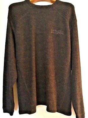 HARLEY-DAVIDSON Men's XL Charcoal Gray Round Neck Knit Pull-over Sweater