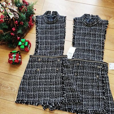 6aee3702aa93 Zara Tweed pinafore jumpsuit dress Short mini buttoned WITH CHAIN SIZE S UK  8