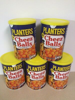 LOT OF 5 Cans of Planters Cheez Balls 2018 Limited Release,- 2.75oz cheese balls