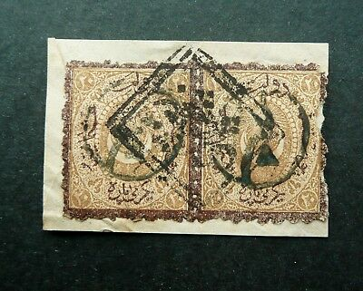 Turkey 1869 Postage Due 20 Paras Pair Of Stamp Used On Piece - Signed On Back