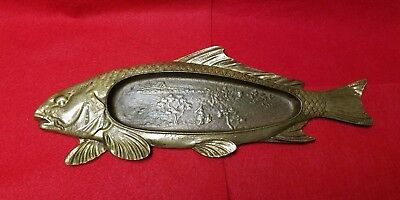 Old Chinese Feng Shui Lucky Fish Brass Carp Plate Dish Chinese Village Scenery