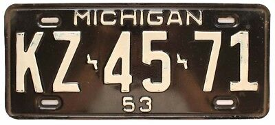 Michigan 1953 License Plate, KZ 45 71, Single Plate Year, YOM, High Quality