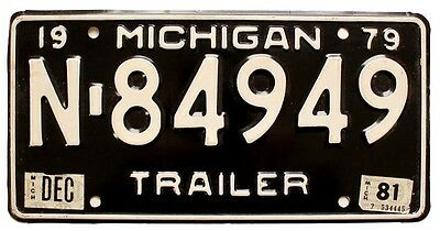 Vintage Michigan 1979 1981 Trailer License Plate for Airstream Shasta Kenskill