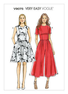 Vogue Sewing Pattern 9075 Misses 14-22 Petite Gathered Dress Pleated Jumpsuit