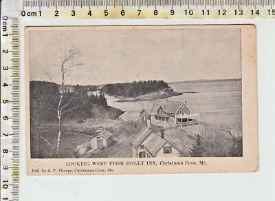 """LOOKING WEST FROM HOLLY INN, Christmas Cove, Me.""  CHRISTMAS MAINE CANCEL 1909"