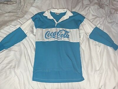 Vintage Coca Cola Rugby Polo Collard Shirt Blue Size Medium