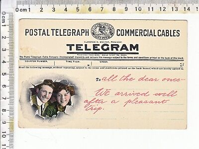 TELEGRAM - POSTAL TELEGRAPH COMMERCIAL CABLES Theochrom 1223 - A Man & Woman