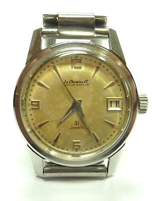 """Stainless Steel """"Le Cheminant Master Mariner"""" 41 Jewel Auto Wrist Watch (AS1701)"""