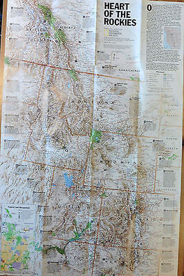 National Geographic Vintage Map Poster 1995 - Heart Of / Above The Rockies Usa