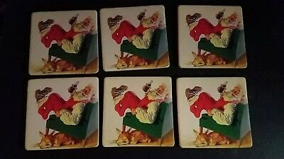 2000 Coca Cola Santa and Fawn Coasters lot  of 6