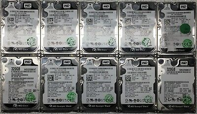 """Lot of 10 Western Digital Black 320GB 2.5"""" HDD 7200RPM SATA Tested and Working"""