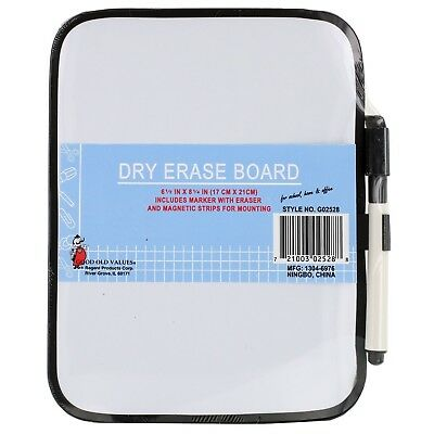 Magnetic Whiteboard Dry Erase Fridge Board-Small Size Frame Color Vary 6.5x8.25""
