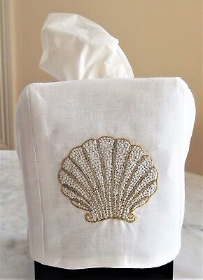 """HEIRLOOM: Cube Tissue Box Cover,  Embroidered Shell, 100% Linen 4.5"""" x 5"""""""