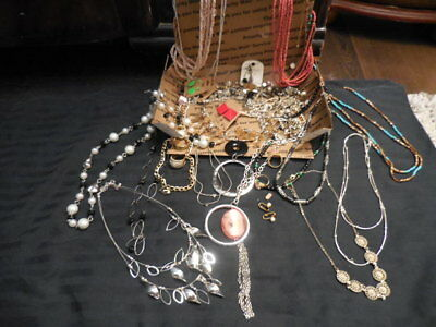 Mixed metal fashion costume bead jewelry necklace signed wearable Junk lot