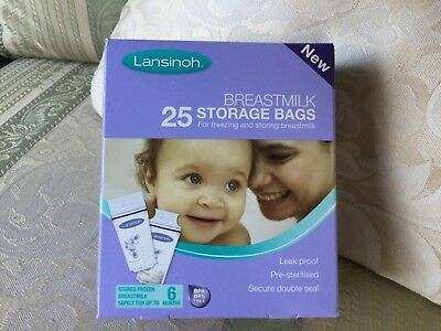 Lansinoh Breastmilk Storage Bags 25 in unopened sealed box