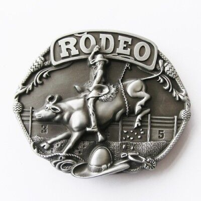 New set of 5 Rodeo CNC metal sculptured brushed silver removable BELT BUCKLES