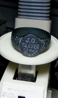 """Antique Circus """"J.G. Tarver-Texas Giant"""" Large Solid Metal Souvenir Ring-LOOK!"""
