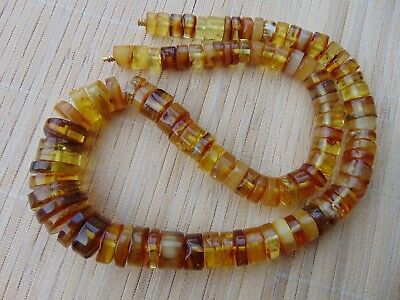 Natural Honey Butterscotch Baltic Amber tablet stones beads Necklace 97 gr