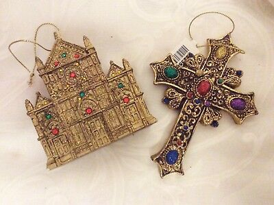 Ornate Ornaments Cross & Cathedral Gold Glitter Beads Byzantine Victorian Europe