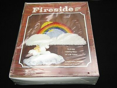 "Vintage Fireside Latch Hook Kit  Rainbow 14"" x 28"" Cut Out Clearing Skies  NIB"