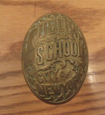 Antique brass doorknob Public School City of New York door knob handle PS