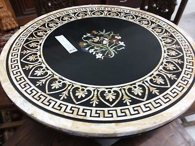 "48"" marble inlay table solid wood hand carved chairs antique old large gem stone"