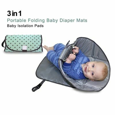 Green wave point 3-in-one portable folding baby diaper pad baby urine care  N1Q6