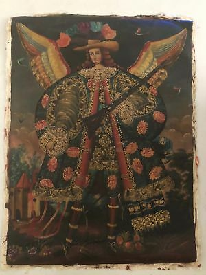 19th Century Spanish American Archangel Uriel Oil Painting Cusco Antique Icon
