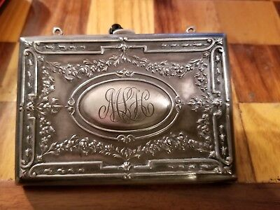 Antique Victorian Sterling Silver Engraved Ornate CIGARETTE Holder Case