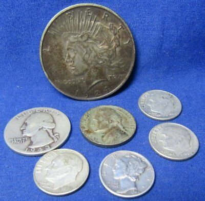 1924 - 1964 U.S. Silver Dollar & Other Silver Coins Lot Of 7