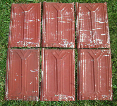 Grop of (6) Tin Victorian Ceiling Tiles w/ ORIG Red Paint, Antique ! - Lot 1